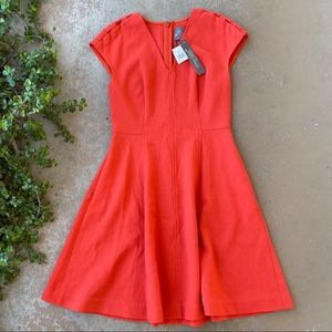 Lela Rose Coral Seamed Wool Blend Crepe Dress
